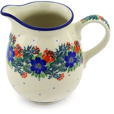 Polish Pottery Pitcher 12 oz Polish Wreath