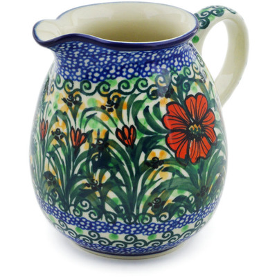Polish Pottery Pitcher 17 oz Butterfly Holly UNIKAT