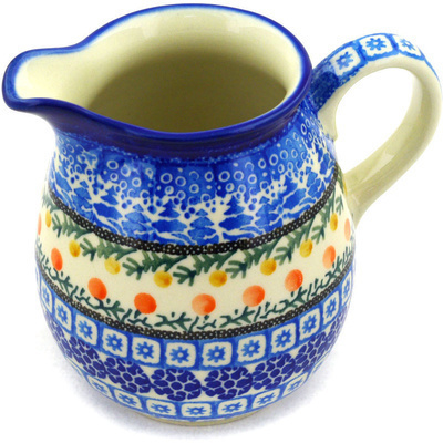 Polish Pottery Pitcher 17 oz Winter Forest UNIKAT
