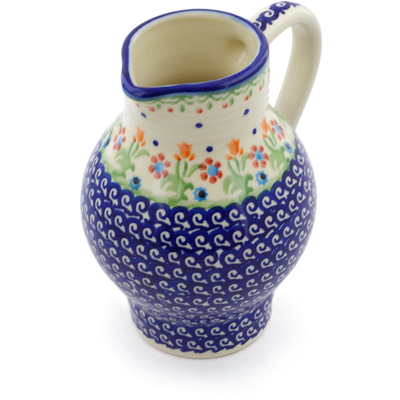 Polish Pottery Pitcher 24 oz Spring Flowers
