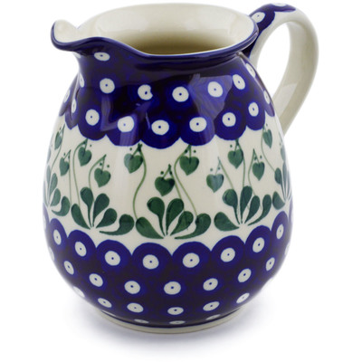 Polish Pottery Pitcher 3½ cups Bleeding Heart Peacock
