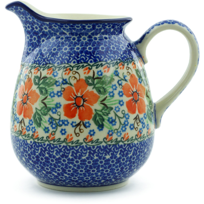 Polish Pottery Pitcher 3½ cups Brilliant Pansy UNIKAT