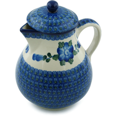 Polish Pottery Pitcher 34 oz Blue Poppies