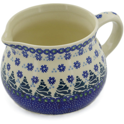 Polish Pottery Pitcher 36 oz Falling Snowflakes