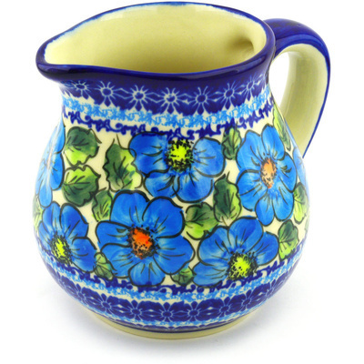 Polish Pottery Pitcher 46 oz Bold Blue Poppies UNIKAT