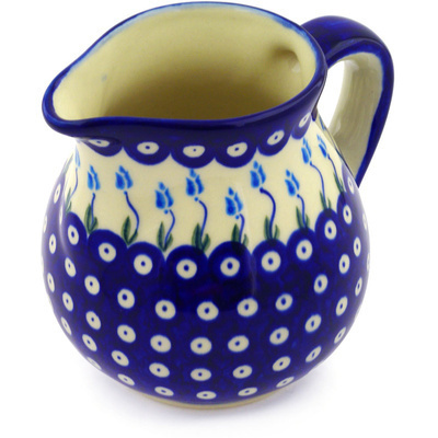 Polish Pottery Pitcher 46 oz Peacock Tulip Garden