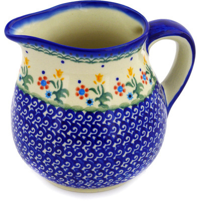 Polish Pottery Pitcher 46 oz Spring Flowers