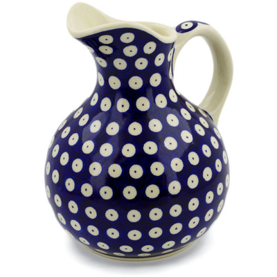 Polish Pottery Pitcher 5 Cup Blue Eyed Peacock