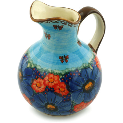 Polish Pottery Pitcher 5 cups Field Of Butterflies UNIKAT