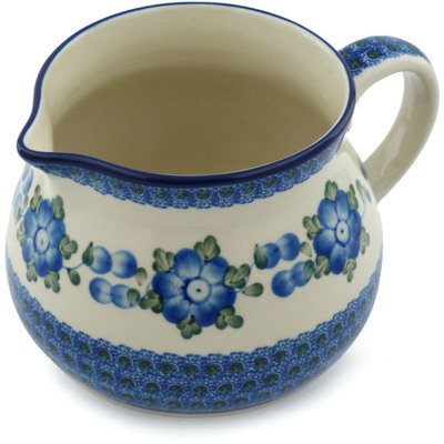 Polish Pottery Pitcher 50 oz Blue Poppies