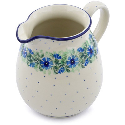 Polish Pottery Pitcher 6 Cup Blue Bell Wreath