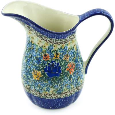 Polish Pottery Pitcher 6 Cup Bluebonnets And Roses UNIKAT