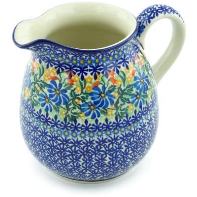 Polish Pottery Pitcher 6 Cup Happy Daisy UNIKAT
