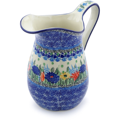 Polish Pottery Pitcher 6 Cup Splendid Blue Bell UNIKAT