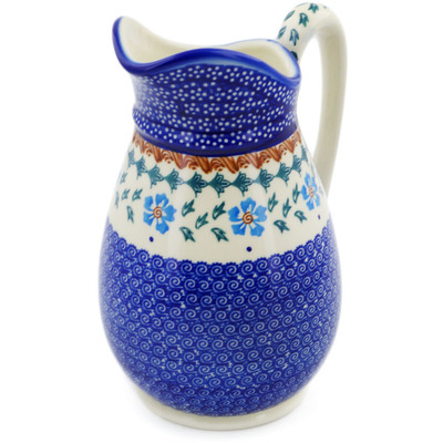 Polish Pottery Pitcher 6 cups Blue Cornflower