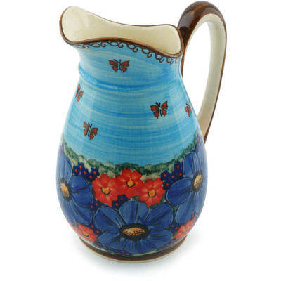 Polish Pottery Pitcher 6 cups Field Of Butterflies UNIKAT
