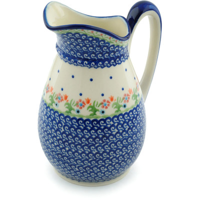 Polish Pottery Pitcher 6 cups Spring Flowers