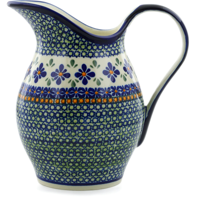 Polish Pottery Pitcher 64 oz Gingham Flowers
