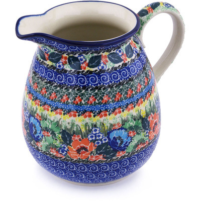 Polish Pottery Pitcher 67 oz Passion Meadow UNIKAT