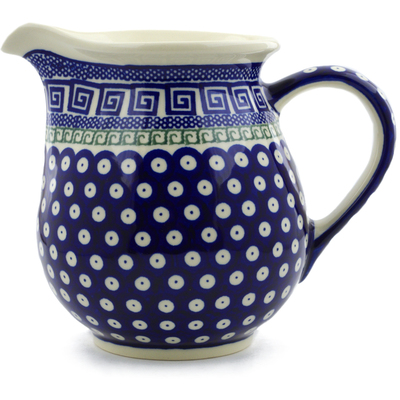 Polish Pottery Pitcher 7 Cup Grecian Peacock