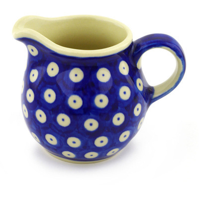 Polish Pottery Pitcher 8 oz Blue Eyed Peacock