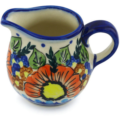 Polish Pottery Pitcher 8 oz Bold Poppies UNIKAT