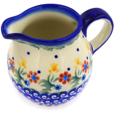 Polish Pottery Pitcher 8 oz Spring Flowers