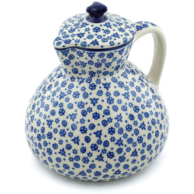 Polish Pottery Pitcher with Lid 101 oz Blue Confetti