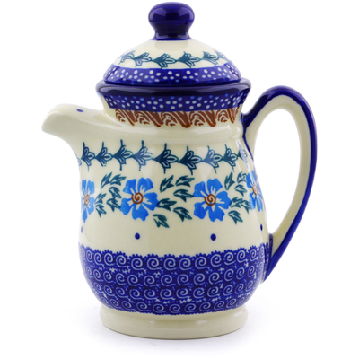 Polish Pottery Pitcher with Lid 15 oz Blue Cornflower