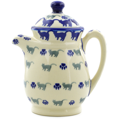 Polish Pottery Pitcher with Lid 15 oz Boo Boo Kitty Paws