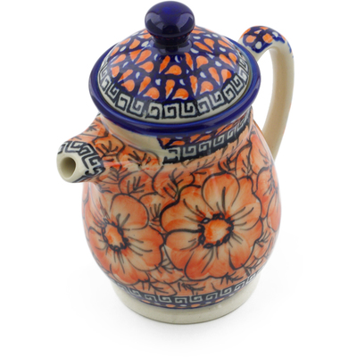 Polish Pottery Pitcher with Lid 15 oz Fire Poppies UNIKAT