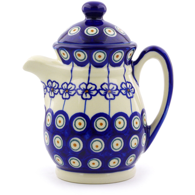 Polish Pottery Pitcher with Lid 15 oz Flowering Peacock