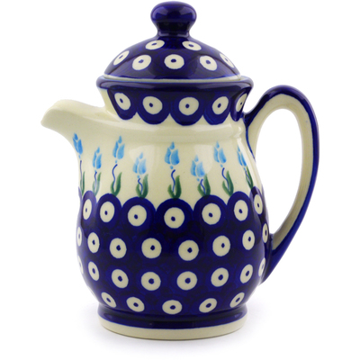 Polish Pottery Pitcher with Lid 15 oz Peacock Tulip Garden