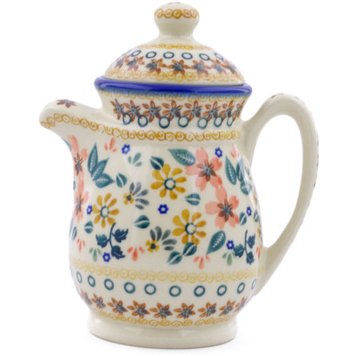 Polish Pottery Pitcher with Lid 15 oz Red Anemone Meadow UNIKAT
