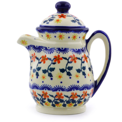 Polish Pottery Pitcher with Lid 15 oz Red Sunflower