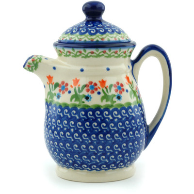 Polish Pottery Pitcher with Lid 15 oz Spring Flowers