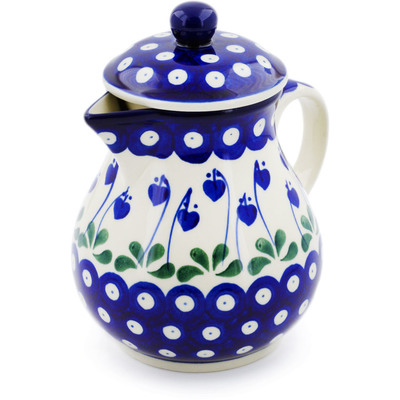 Polish Pottery Pitcher with Lid 20 oz Bleeding Heart Peacock