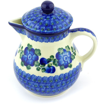 Polish Pottery Pitcher with Lid 20 oz Blue Poppies