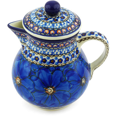 Polish Pottery Pitcher with Lid 20 oz Cobalt Poppies UNIKAT
