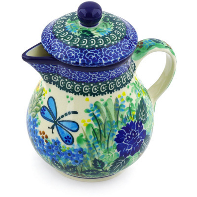 Polish Pottery Pitcher with Lid 20 oz Garden Delight UNIKAT