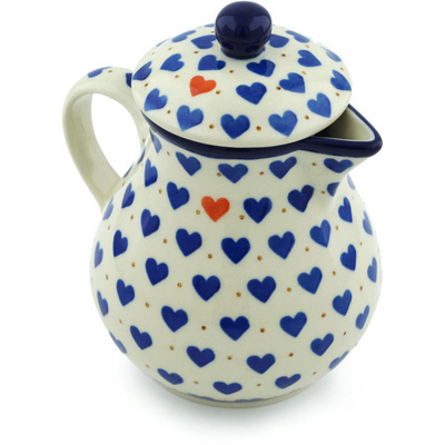 Polish Pottery Pitcher with Lid 20 oz Heart Of Hearts
