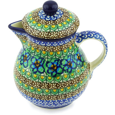 Polish Pottery Pitcher with Lid 20 oz Mardi Gra UNIKAT