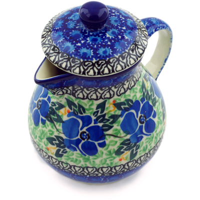 Polish Pottery Pitcher with Lid 20 oz Royal Mosaic UNIKAT