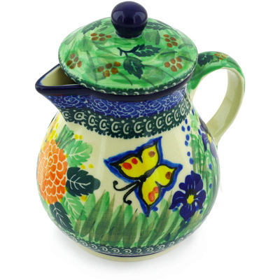 Polish Pottery Pitcher with Lid 20 oz Spring Garden UNIKAT