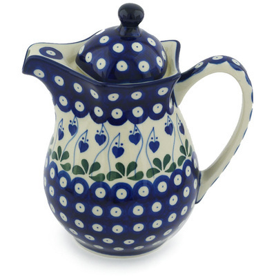 Polish Pottery Pitcher with Lid 30 oz Bleeding Heart Peacock