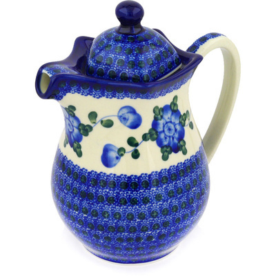 Polish Pottery Pitcher with Lid 30 oz Blue Poppies