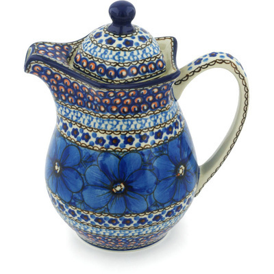 Polish Pottery Pitcher with Lid 30 oz Cobalt Poppies UNIKAT