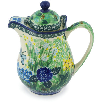 Polish Pottery Pitcher with Lid 30 oz Garden Delight UNIKAT