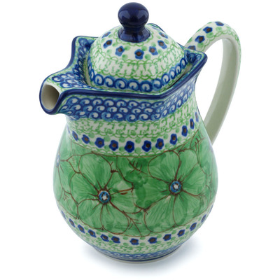 Polish Pottery Pitcher with Lid 30 oz Key Lime Dreams UNIKAT