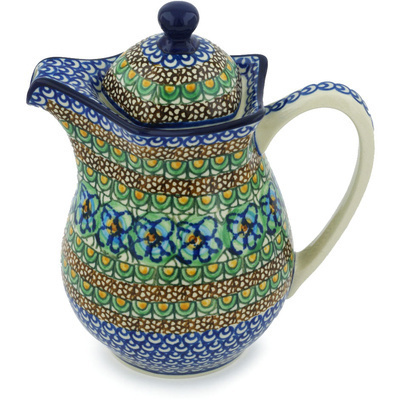 Polish Pottery Pitcher with Lid 30 oz Mardi Gra UNIKAT